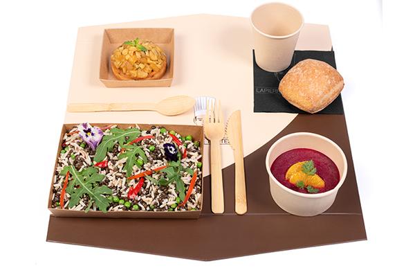 e- plateau repas d'Automne Végan Salade de lentilles